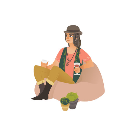 Young hippie and hipster woman or girl in a hat sitting on the bag chair with a glass of wine in her hand. Festival and open air concept with hippie girl. Isolated flat cartoon vector illustration.