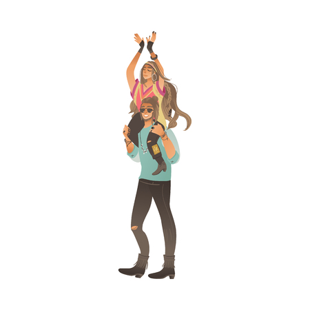 Boho style man stands holding woman on his shoulders cartoon style, vector illustration isolated on white background. Hippy couple - girl sitting on boyfriend neck at summer festival
