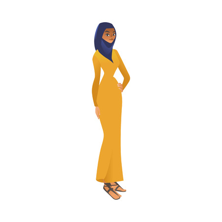 Vector cartoon muslim khaliji woman in hijab icon. Smiling arab girl in colorful traditional islamic clothig, headscarf . Middle asia, Emirates or Saudi female character.