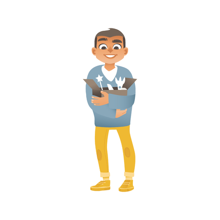 A boy in jeans, sweaters and sneakers holds a box with children toys. A little boy cleans up in a room, getting ready to move and relocation or doing charity with donations. Vector illustration. Illusztráció