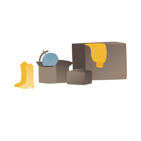 Packed in cardboard boxes home goods for moving and relocation into a new house or apartment flat vector illustration isolated on white background. Packaging services icon.