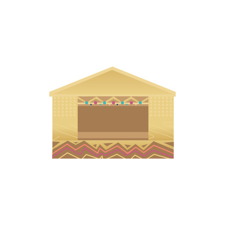 Wooden scene or stage of the summer music festival or open air for concert and entertainment. Isolated vector flat cartoon illustration and icon on white background.  イラスト・ベクター素材