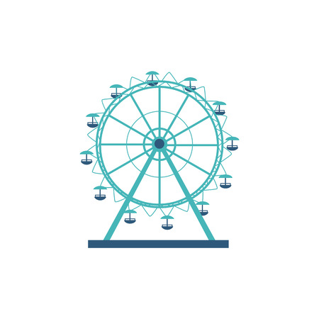 Round silhouette and icon of a ferris wheel, carousel for an amusement park and entertainment. Icon for concept of entertainment, fun and leisure. Vector flat cartoon illustration of ferris wheel.