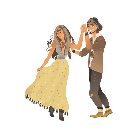 Couple in stylish boho clothes stands and holds hand by dancing cartoon style, vector illustration isolated on white background. Young man and woman lovely dancing at summer hippy festival