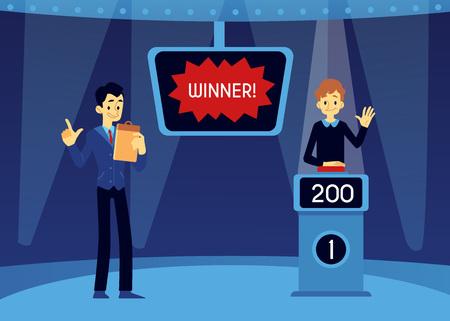 Wektor szczęśliwy człowiek zwycięzca w teleturnieju stojący na podium z punktami na ekranie podnosząc rękę w górę, naciskając czerwony przycisk, aby odpowiedzieć z gospodarzem pokazu. Erudycja edukacyjna koncepcja gry telewizyjnej.