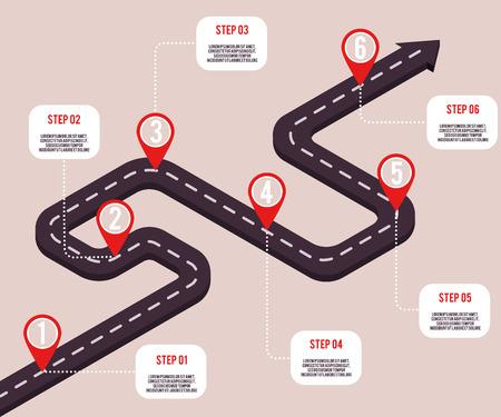 Concepto de hitos de negocio de vector con punteros de mapa y pasos en ruta por carretera. Cronología de la empresa, plantilla de presentación infográfica. Estrategia corporativa, flujo de trabajo de procesos.