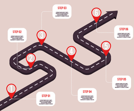 Vector business milestones concept with map pointers and steps on road route. Company timeline, presentation infographic template. Corporate strategy, process workflow.