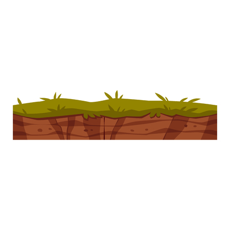 Vector soil ground layers with grass, underground texture. Subterranean landscape for game map design. Layered earth surface, geological natural clay. Ilustração