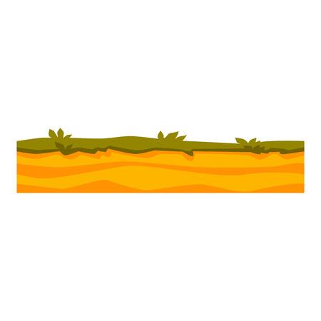 Couches de sol vectorielles avec de l'herbe sur le sable, texture souterraine. Paysage de desserts souterrains pour la conception de cartes de jeu. Surface de la terre en couches, paysage géologique.