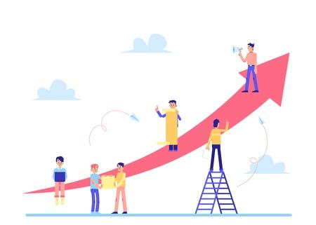 Scrum Task Board la stratégie de gestion d'entreprise pour les tâches de l'équipe avec des personnages de personnes et des flèches pointées isolées sur une illustration vectorielle plane de fond blanc.