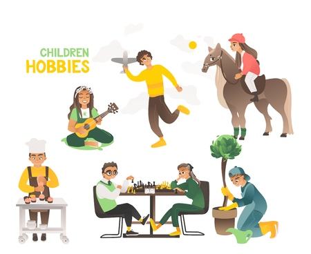 Hobbies of children and teenagers. Happy childhood of little boys and girls, kids. Airplane and chess, guitar and chef, horse rider and gardener. Vector illustration of a hobby in flat style. Иллюстрация