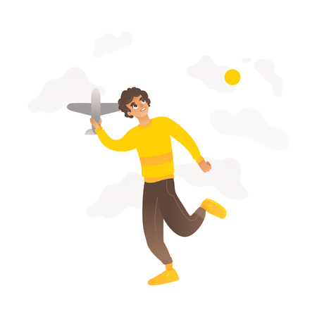 A boy or teenager plays with a toy plane in cartoon flat style on a background of sky and sun. Hobbies of children, a boy and a child holding a plane. Isolated vector illustration. Illustration