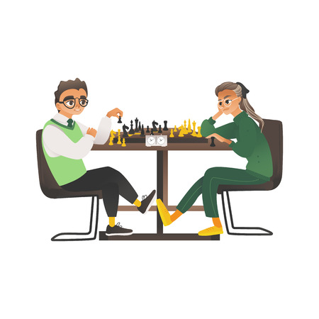 Children, a boy and a girl with glasses sit opposite each other and play chess. Intellectual hobby of children and teenagers. Isolated vector illustration on white background in flat cartoon style. Ilustração