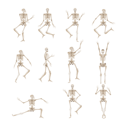 Cheerful skeleton in different poses dancing and jumping for Halloween party design. Scary objects vector illustration isolated on white background. Illustration