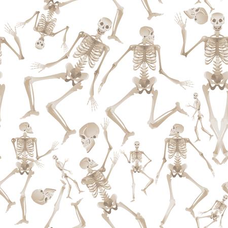 Nahtloses Muster von weißen menschlichen Skeletten, die tanzen und sich bewegen - gruseliger Hintergrund der medizinischen Anatomie und der Knochenbewegung. Vektorillustration lokalisiert auf weißem Hintergrund. Vektorgrafik
