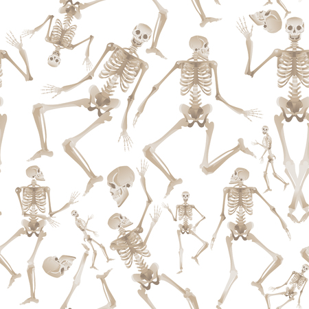 Seamless pattern of white human skeletons dancing and moving - spooky background of medical anatomy and bone movement. Vector illustration isolated on white background.