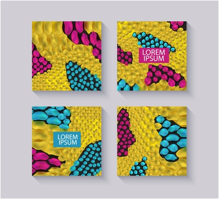 Yellow snake skin textured square templates set with text box realistic style, vector illustration isolated on grey background. Design with animal pattern background and copy space for text