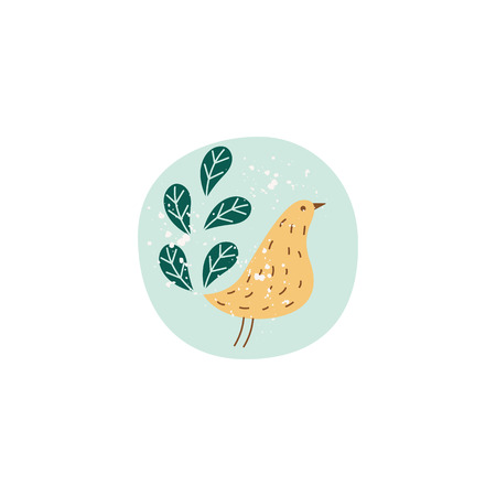 Simple cute bird drawing with branch of leaves, cartoon style hand drawn vector illustration isolated on white background. Lovely design for crockery and ceramics. Иллюстрация