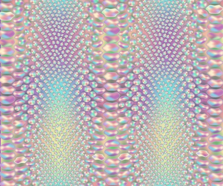 Iridescent snake skin pattern, colorful snakeskin leather material print, wild reptile leather in pastel rainbow colors - vector illustration