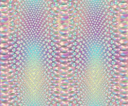 Patrón de piel de serpiente iridiscente, estampado de material de cuero de piel de serpiente colorido, cuero de reptil salvaje en colores pastel del arco iris - ilustración vectorial