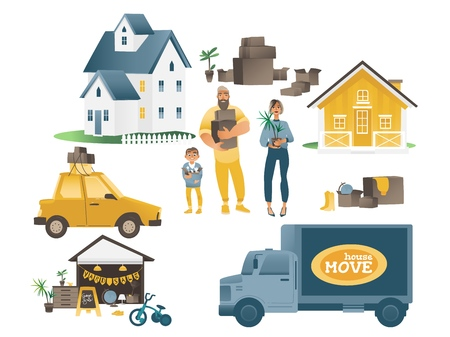 Home moving set with family and people, houses and transport company. The concept of moving to a new home and house, people and boxes relocation. Isolated vector set of cartoon flat illustration. Illustration