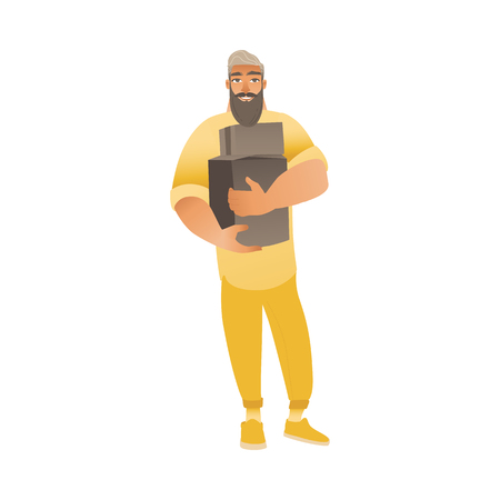Bearded man in pants and sweater smiles, holds and carries cardboard boxes. The concept of relocation, moving or delivery with man. Isolated vector flat cartoon illustration.