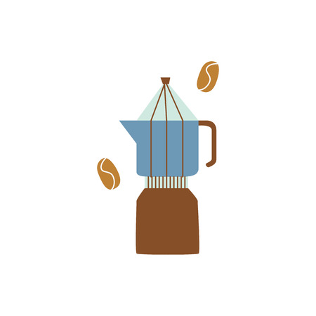 Percolator or geyser coffee maker in flat cartoon style, vector illustration isolated on white background. Moka pot, coffee machine for brewing espresso drink, kitchen equipment  イラスト・ベクター素材