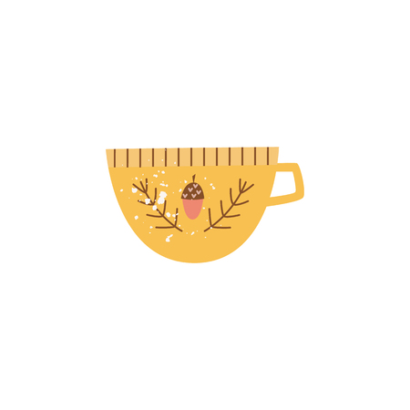 Big yellow ceramic mug or cup in flat cartoon style, vector illustration isolated on white background. Soup bowl with one handle or huge tea cup, porcelain crockery, pottery tableware Иллюстрация