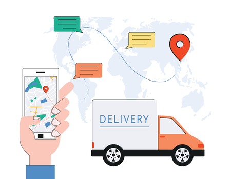 Vector Delivery Tracking Poster With World Map With Navigation