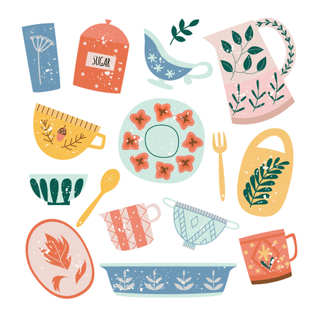 Set of ceramic tableware or crockery in flat cartoon style, vector illustration isolated on white background. Collection of decorative porcelain kitchen utensils