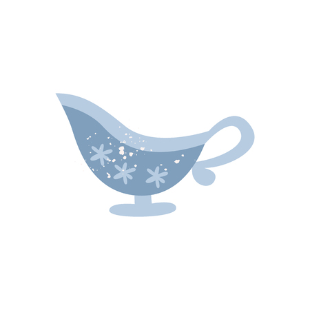 Ceramic or porcelain sauceboat in flat cartoon style, vector illustration isolated on white background. Crock gravy boat for cream or dressing serving, kitchen tableware 일러스트