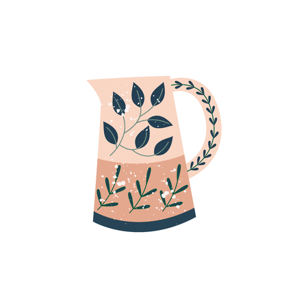 Decorative kitchen ceramic pitcher in flat cartoon style, vector illustration isolated on white background. Rustic crock or porcelain jug with floral ornament, pottery jar