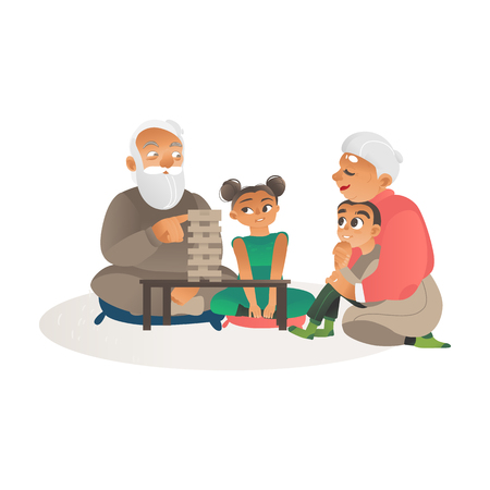 Grandparents or grandmother and grandfather playing games together with grandchildren flat activity for elderly people vector illustration isolated on white background. Illustration