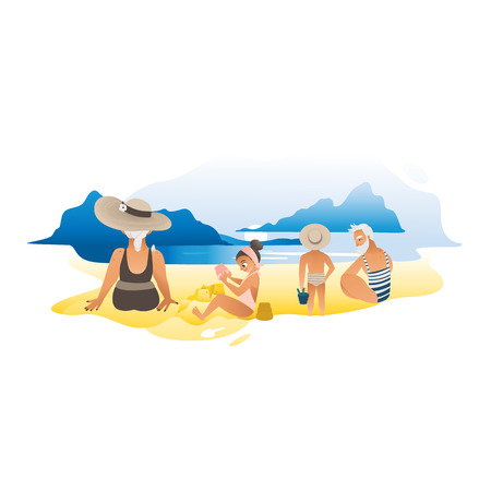 Grandparents or grandmother and grandfather spending time together with their grandchildren on the sea beach flat cartoon activity for elderly people vector illustration.