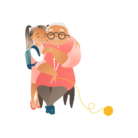 Granddaughter hugging with love her grandmother flat cartoon vector illustration of family ties and care isolated on white background. Happy grandparents and grandchildren.