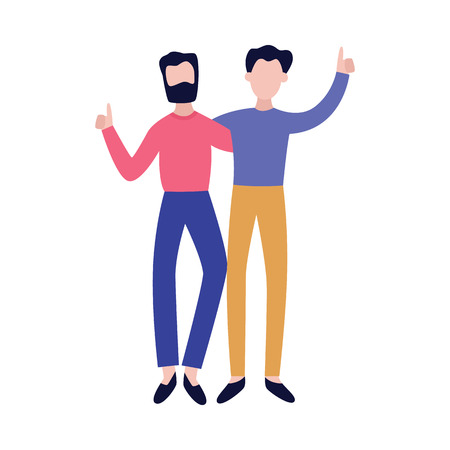 Cheerful best friends embracing each other and having fun flat vector illustration isolated on white background. Happy smiling men meeting each other with a hug.