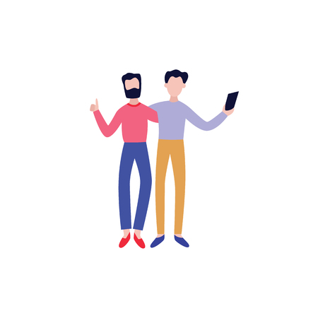 Vector cheerful friends standing hugging making selfie by smartphone. Two male buddies standing together. Happy flat men students, colleagues having fun. Isolated illustration