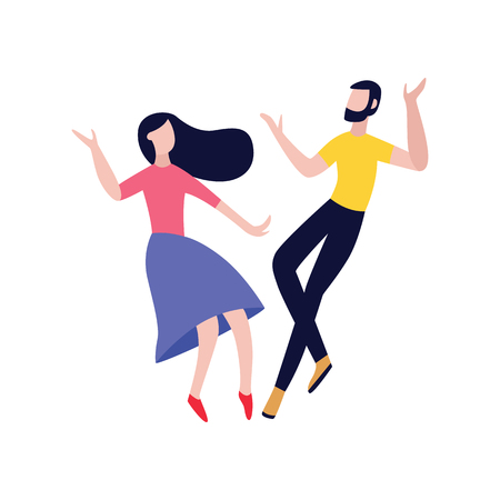 Young man and woman, the friends or loving couple having fun and dancing at a party flat vector illustration isolated on white background. Friendship and companionship.