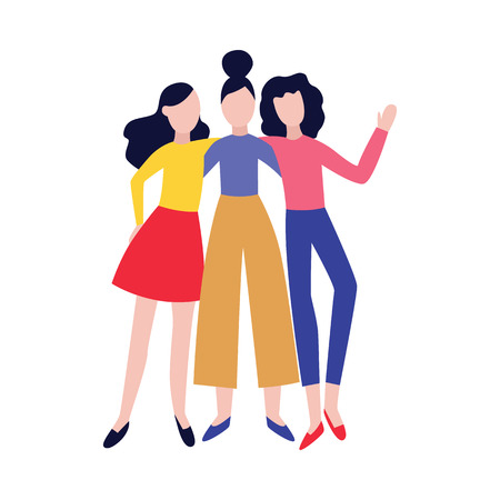 Cheerful best girl friends embracing each other and having fun flat vector illustration isolated on white background. Happy smiling women meeting each other with a hug. Illustration