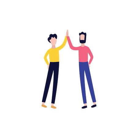 Vector colegas masculinos, estudiantes o amigos dando cinco. Hombres planos que muestran signos de cooperación, asociación exitosa y trato. Gente de negocios aplaudiendo juntos.
