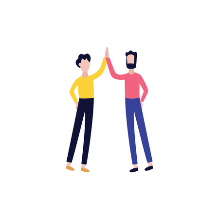 Vector male colleagues, students or friends giving high five. Flat men showing sign of cooperation, successful partnership and deal. Business people clapping hands together. Standard-Bild - 122415044