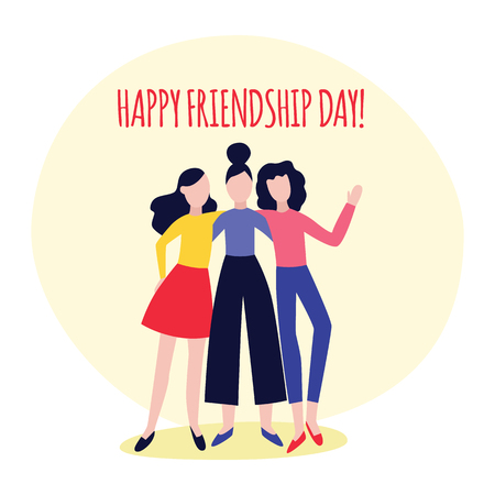 Vector cheerful girls friends standing hugging. Three female women standing together. Happy flat men students, colleagues having fun. Isolated illustration