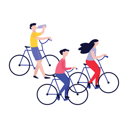 Set of young people on bicycle ride - healthy men and woman on bikes, fitness challenge activity together as a group. Lifestyle illustration, isolated vector on white background