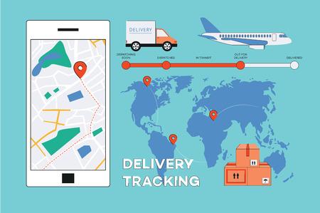 Cartel de seguimiento de entrega de vector con mapa del mundo con pines de navegación, cronograma de entrega, camión de carga, avión, cajas de paquetería y aplicación móvil en la pantalla del teléfono inteligente. Fondo de banner de envío en línea.