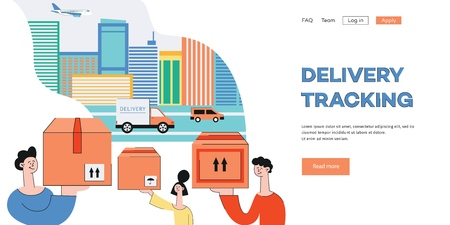 Vector delivery tracking poster with woman, men holding packages near cityscape background with cargo trucks, plains. Online shipping banner background. Иллюстрация