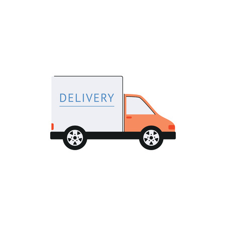 Cargo delivery truck, white shipping van from side view. Commercial transport vehicle in flat cartoon style, isolated vector illustration on white background.