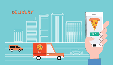 Vector food delivery tracking poster with pizza slice in mobile application in smarphone screen on cityscape background with cargo trucks. Online shipping banner background. Banque d'images - 122415058