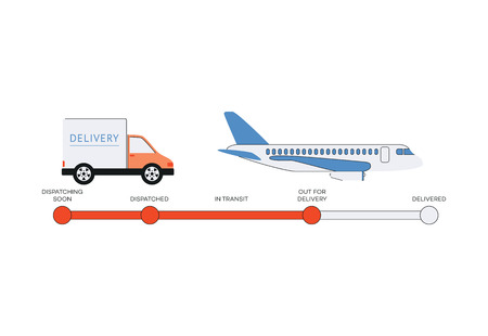 Process of product delivery for online shopping, stages of shipping goods using moving truck and airplane. Logistics of global transportation business - flat vector illustration.
