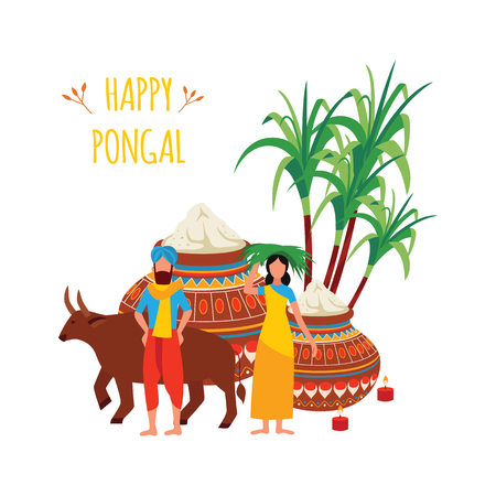 Indian man and woman with bull and clay pots and sugarcane cartoon style, vector illustration isolated on white background. Pongal Hindu festival of harvest celebration greeting card Illustration