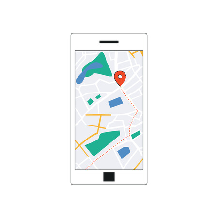 GPS map interface on smartphone screen, mobile navigation app on phone with red destination marker point. Route through city streets seen on device - flat isolated vector illustration.